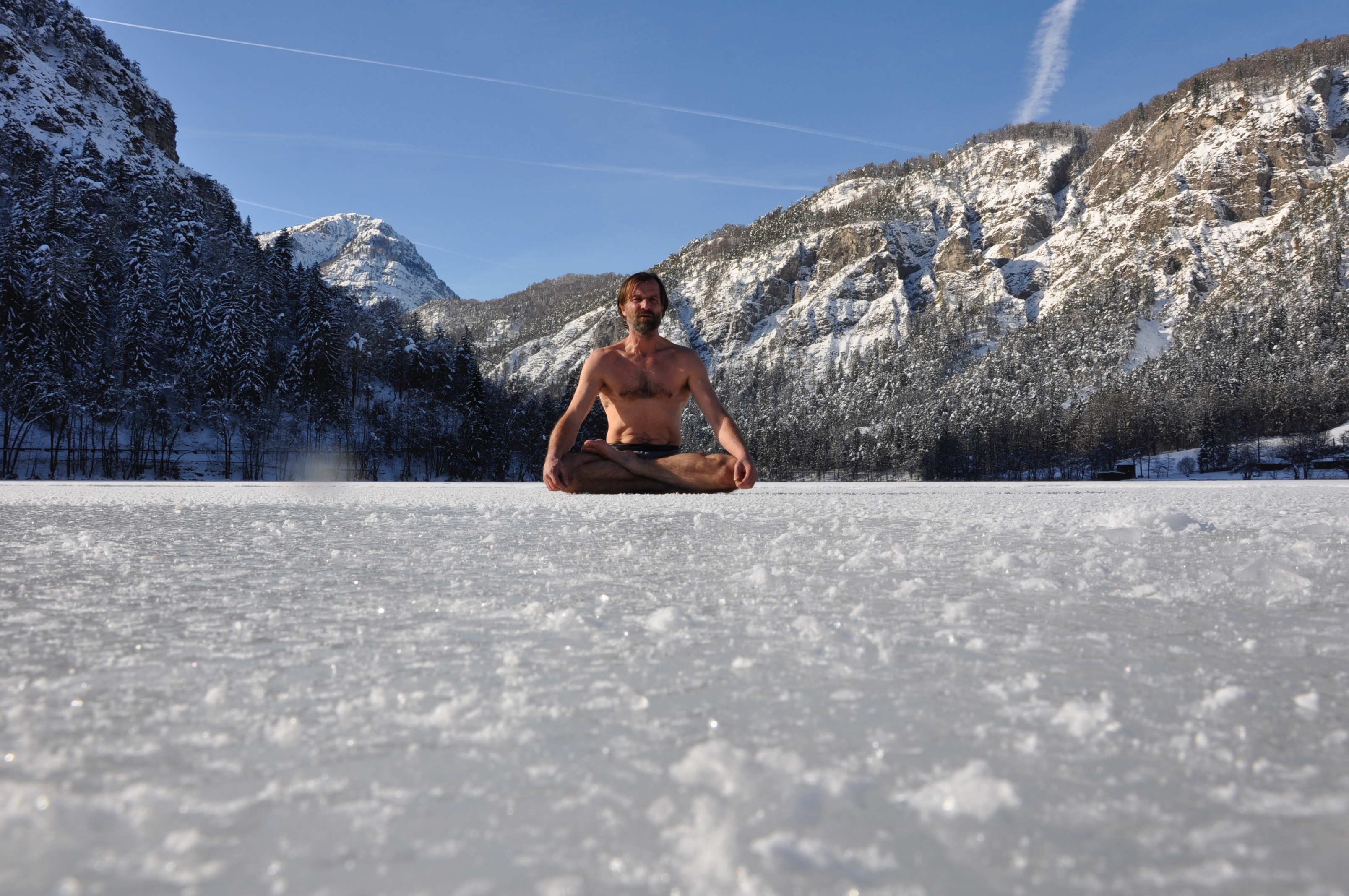 Wim Hof on ice